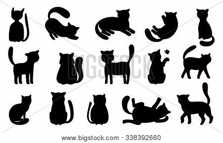 Funny Cat Silhouettes. Black Cats Play And Hunt, Lie And Jump. Vector Funny Meowing Kittens Silhouet