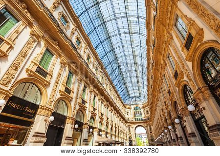 Milan, Italy - April 09, 2019: The Galleria Vittorio Emanuele Ii Is An Oldest Active Shopping Mall A