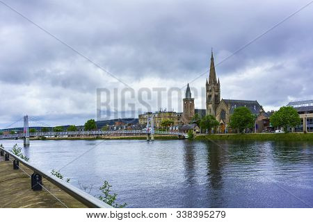 Beautiful Cityscape Of Inverness Where The River Ness Meets The Moray Firth In Summer , Scotland