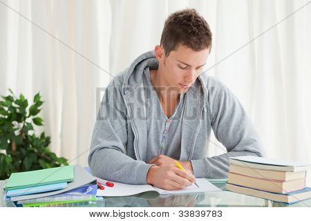 Male student doing his homework in his house