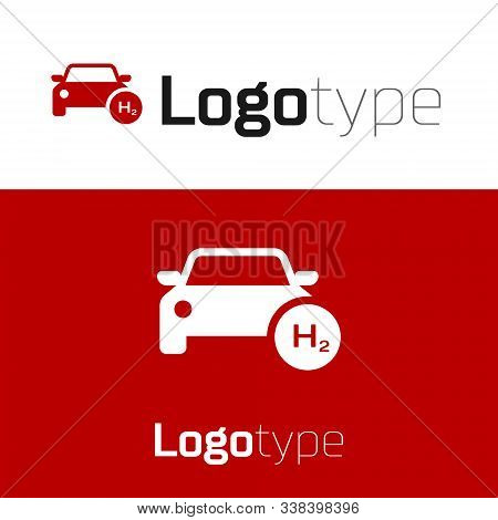 Red Hydrogen Car Icon Isolated On White Background. H2 Station Sign. Hydrogen Fuel Cell Car Eco Envi