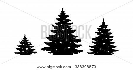 Christmas Tree Vector Shape Set. Pine Tree Silhouette With Stars. Monochrome Icon Collection. Black