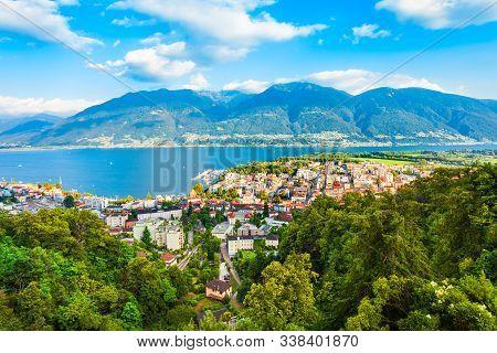 Locarno Aerial Panoramic View. Locarno Is A Town Located On The Shore Of Lake Maggiore In The Ticino