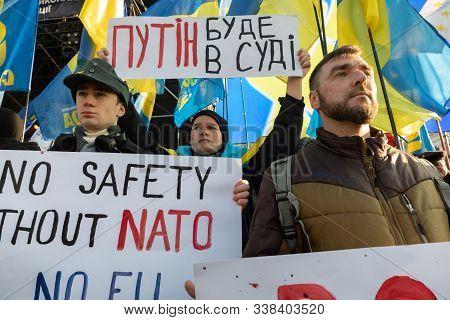 Kyiv, Ukraine - Dec. 08, 2019: Red Lines Protest For President Zelensky. Thousands Ukrainians Attend