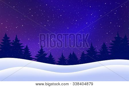 Christmas Card. Night With Pine Trees, Snow, Dark Blue Sky. Vector Winter Starry Background. Vector