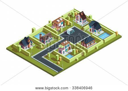 Cottage Village Isometric. Suburban Modern Residential Houses Townhouses In Small Town With Infrastr