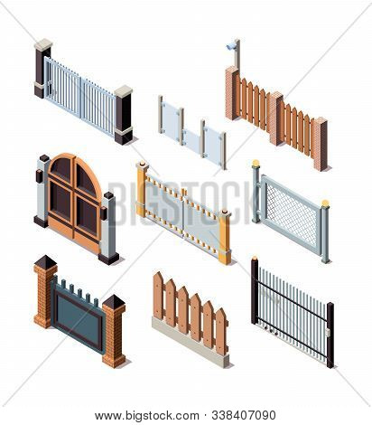 Construction Fences. Garden Door Gate Metals Or Wooden Panels Railing Fences Vector Isometric. Illus