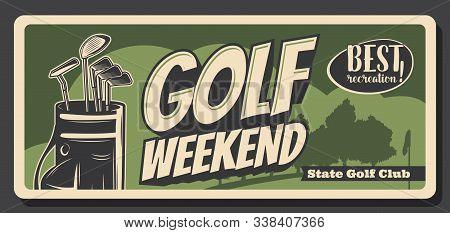 Golf Weekend, Retro Bag With Iron Heavy Niblicks. Vector Golfing Sport Game Equipment, Sticks To Pla