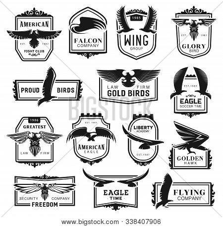Falcon And Eagle Birds, Heraldic Labels. Vector American Fight Club, Air Travel And Law Firm, Libert