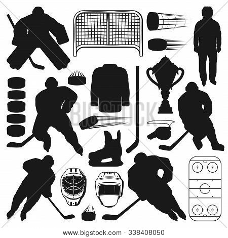 Ice Hockey Players And Sport Equipment Isolated Silhouettes. Vector Winter Sport Game Symbols, Stick