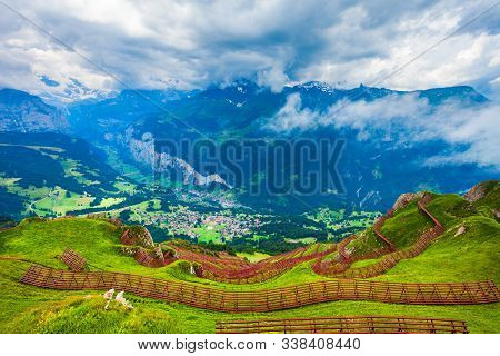 Avalanche Barriers And Lauterbrunnen Valley Panoramic View, Bernese Oberland Near Interlaken City In