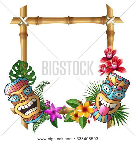 Tiki Mask And Frame. Hawaii Authentic Background Bamboo Square Sticks Exotic Flowers And Plants Wood