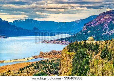 View Of Vista House At Crown Point Above The Columbia River Gorge In Oregon, United States