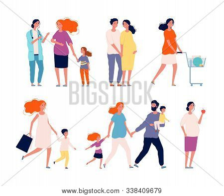 Pregnant Characters. Woman Happy Mother Couple Healthy Baby Family Doctor Consulting Pregnancy Paren