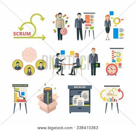 Scrum Methodology. Project Visualization In Retrospective Agile Software Collaboration Meetings Busi