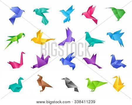 Origami Birds. Stylized Polygonal Dove Geometrical Abstract Shapes From Clean Paper Vector Animals I