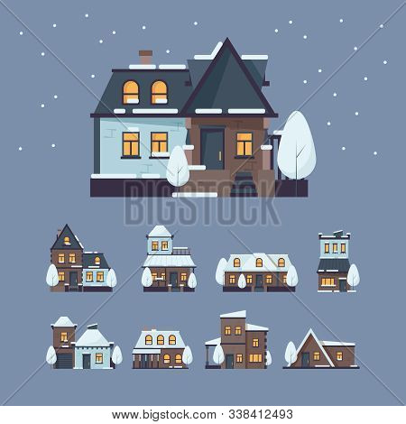 Frozen Houses. Christmas Winter Buildings With Snow Cap From Snowflakes Amazing Decoration Buildings