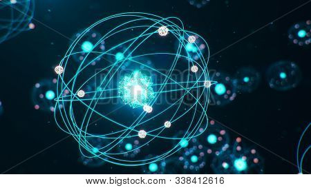 3d Illustration Atomic Structure. Atom Is The Smallest Level Of Matter That Forms Chemical Elements.