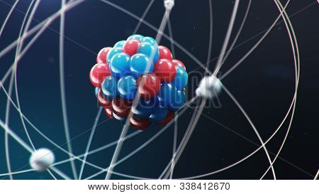 Abstract Atom Model. Atom Is The Smallest Level Of Matter That Forms Chemical Elements. Glowing Ener