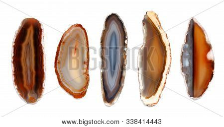 Polished Agate Slices. Isolated On White Background