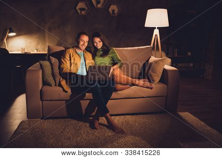 Portrait Of His He Her She Nice Attractive Cheerful Cheery Friendly Spouses Sitting On Divan Having