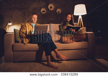 Portrait Of His He Her She Nice Attractive Lovely Cheerful Cheery Spouses Sitting On Divan Spending