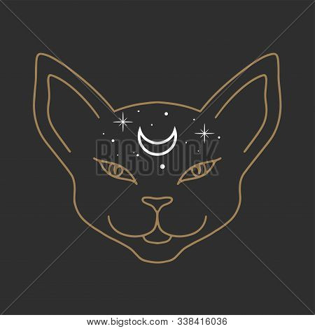 Cat Face With Moon On His Forehead Line Art. Wiccan Familiar Spirit, Halloween Or Pagan Witchcraft T
