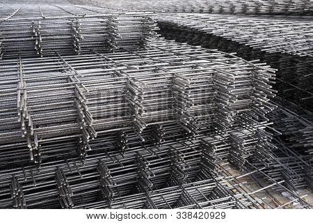 Rebar, Reinforcing Bars Or Steel Close Up, Reinforcement Steel, Wires Mesh Of Steel Used As A Tensio