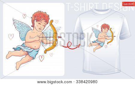 T-shirt Cupid Print. Cherub Design For Fashion Valentine Day, Wedding, Baby Shower, Love T Shirt Pri