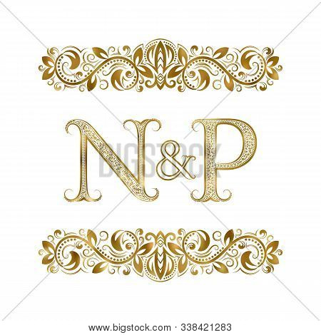 N And P Vintage Initials Logo Symbol. The Letters Are Surrounded By Ornamental Elements. Wedding Or