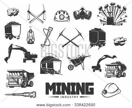 Mining Industry Isolated Monochrome Icons. Vector Coal Processing And Production, Extraction Of Mine