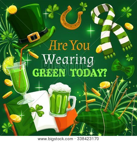 Green Shamrock, Irish Leprechaun Gold And Hat, St Patrick Day Vector Design. Clover Leaves, Flag Of