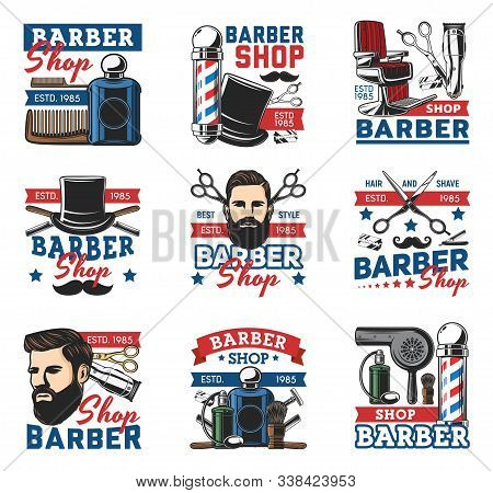 Barber Shop Salon, Vector Retro Icons, Hipster Beards And Gentlemen Haircut. Premium Quality Barber
