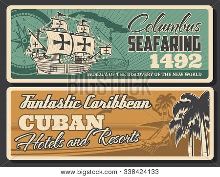 Seafaring To Cuba, Retro Caribbean Columbus Discoveries. Vector Nautical Navigation Compass Rose Of