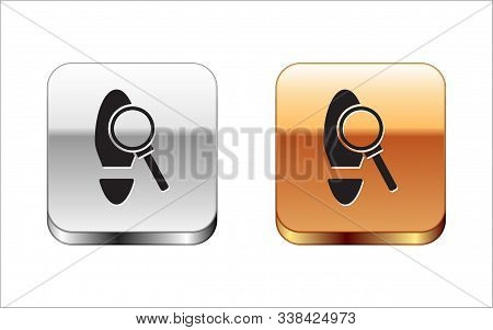 Black Magnifying Glass With Footsteps Icon Isolated On White Background. Detective Is Investigating.