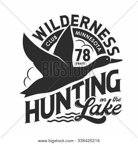 Duck Hunting Club Isolated Monochrome T-shirt Print Design. Vector Hunt On Birds At Lake, Flying Fea
