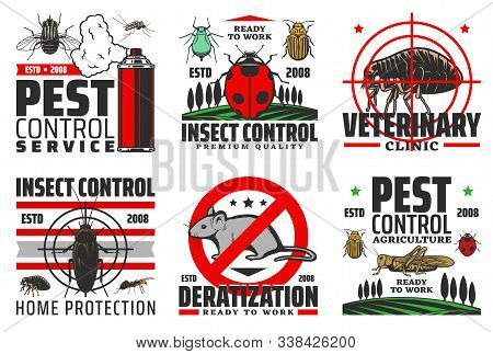 Pest And Insect Control Services, Veterinary Clinic And Deratization Icons. Vector Agriculture Harve