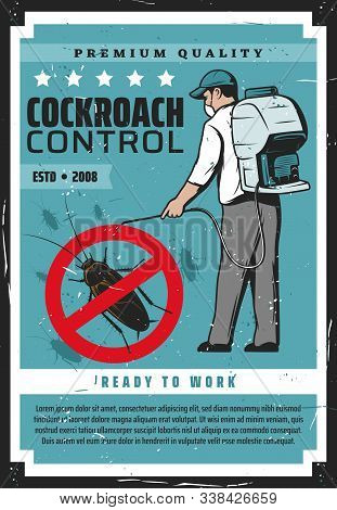 Cockroach Control, Man In Protective Mask Exterminating Termites. Vector Retro Exterminator Worker W