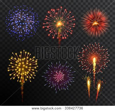 Firework. Set Multy-colored New Year Bright Firework Explode Isolated On Transparent Background. Hol