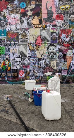 Berlin, Germany- September 7, 2019 Street Stickers And Variety Of Different Stickers Street Art In B