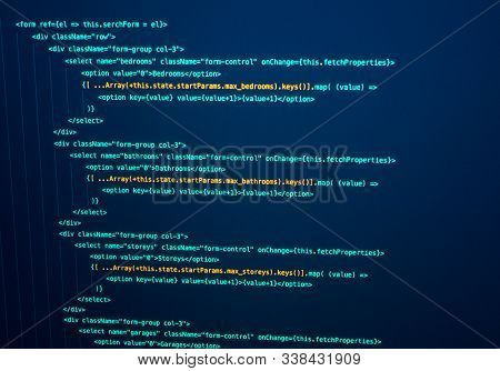 Javascript React Code. Software Source Code. Programming Code On The Screen.technology Background. F
