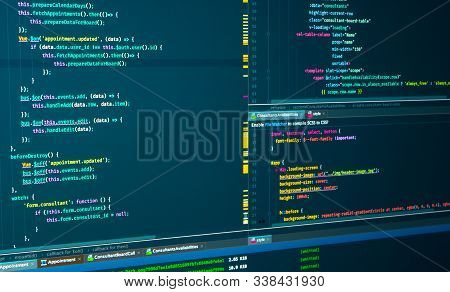 Program Code Javascript, Html, Css Of Site. Web Development. Source Code Script. Programmer Workflow