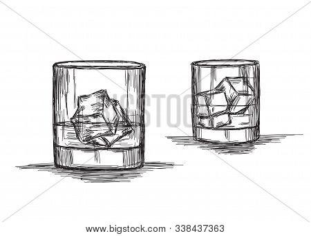 Cold Drink - Whiskey, Rum Or Cold Drink - Vector Sketch Illustration