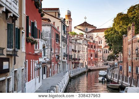 Venice, Italy. Grand Canal and historic tenements. Beautiful view of Grand Canal and multicoloured old medival buildings. poster