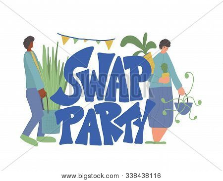 Swap Party Emblem. Indoor Plants. Two People Surrounded By Potted House Plants. Hand Drawn Houseplan