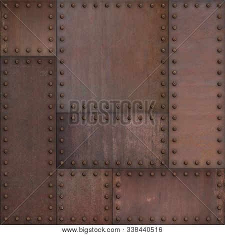 Steam punk or steampunk rusty armor metal background. Mixed media.