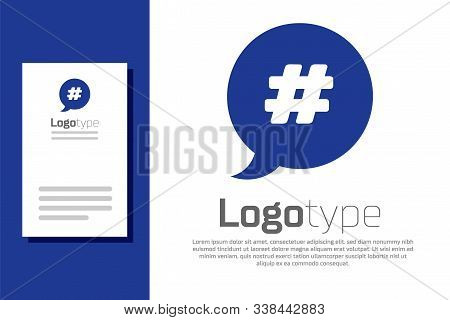 Blue Hashtag Speech Bubble Icon Isolated On White Background. Concept Of Number Sign, Social Media M