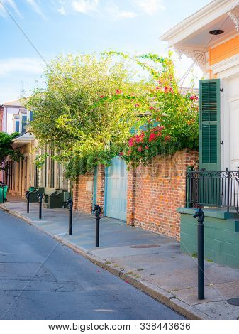 New Orleans, Usa - April 22, 2018: Row Houses Of Traditional Architecture In Louisiana City On Stree