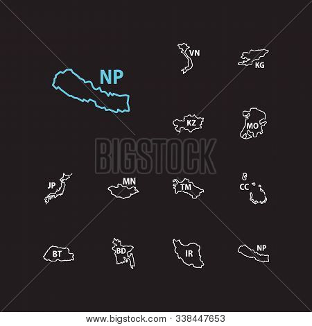 Cartography Icons Set. Bangladesh And Cartography Icons With Macau, Cocos Islands, Iran. Set Of Patr