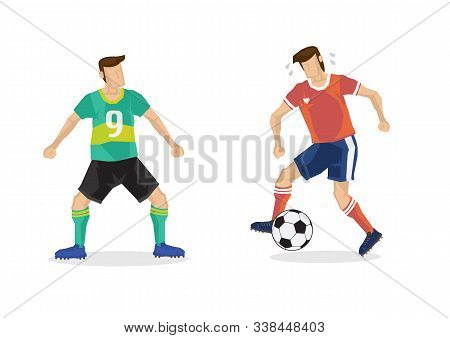 Soccer Players In Duel Dribble On Football Ground. Vector Illustration.